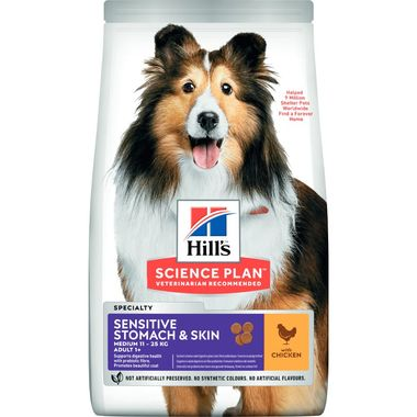 Hills Science Plan - Hills Sensitive Stomach&Skin Adult 1+ Chicken Yetişkin Tavuklu Hassas Köpek Maması 14 Kg